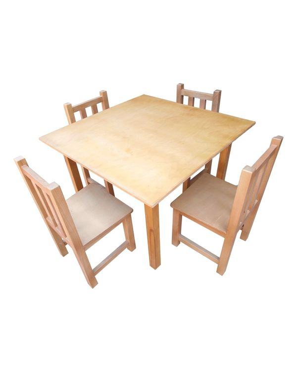 Square wooden table + 4 wooden chairs without arms