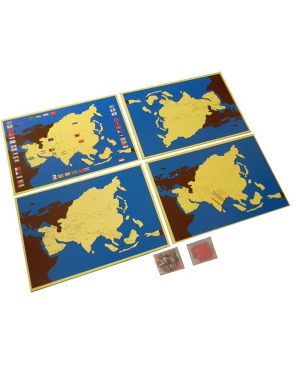 Asia Pin Maps set of 4 (country, capital, flag, control map)