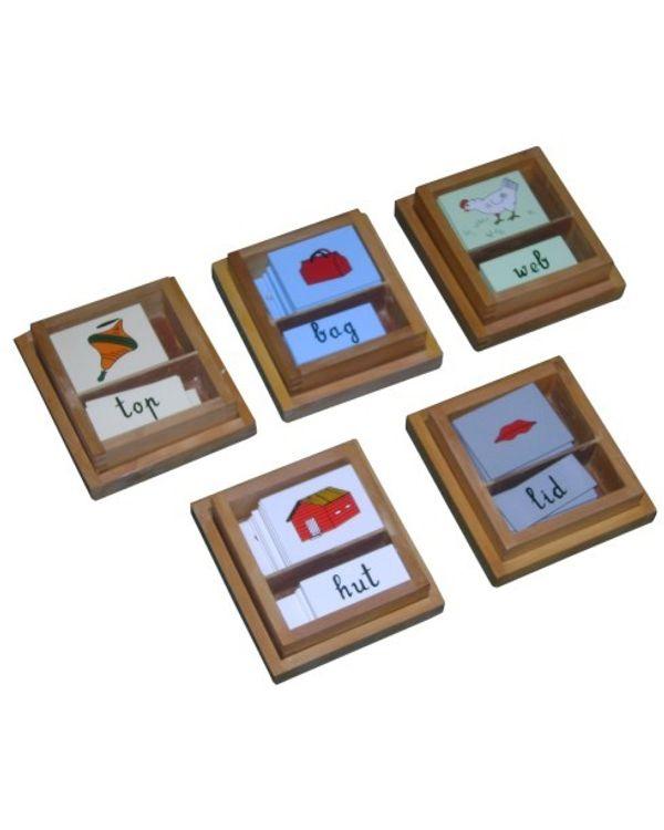 Vowel Boxes Cursive (2 Part Cards)