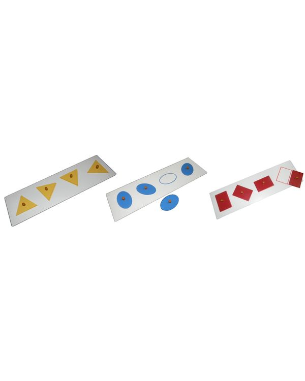 Shape orientation boards with coins: Set of 3