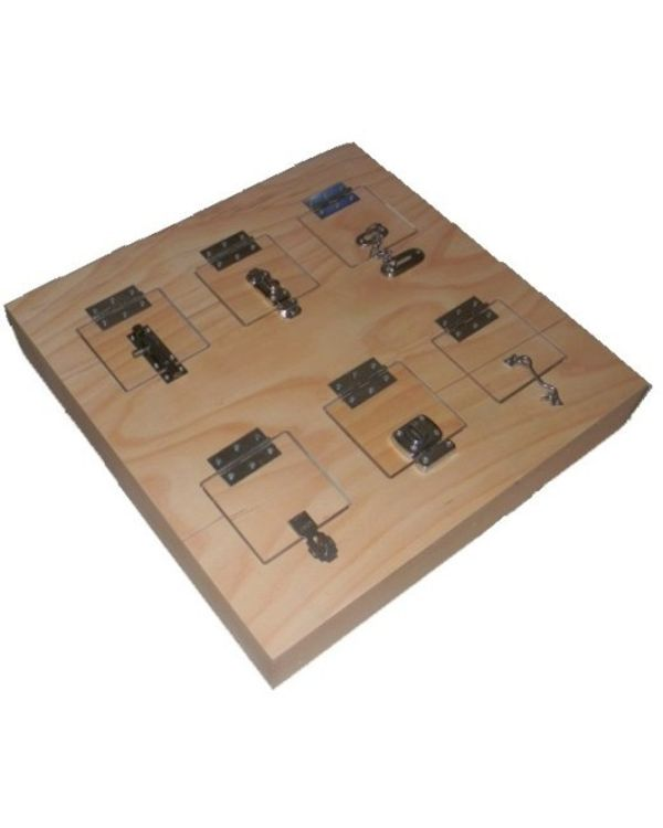 Wooden panel with locks and latches
