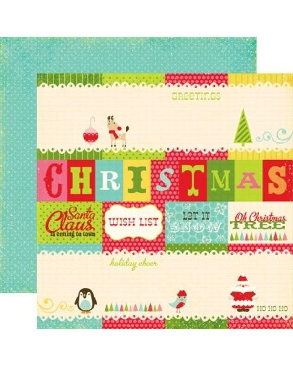 Echo Park - Everybody Loves Christmas - Journaling Cards Paper  - 12X12 Paper