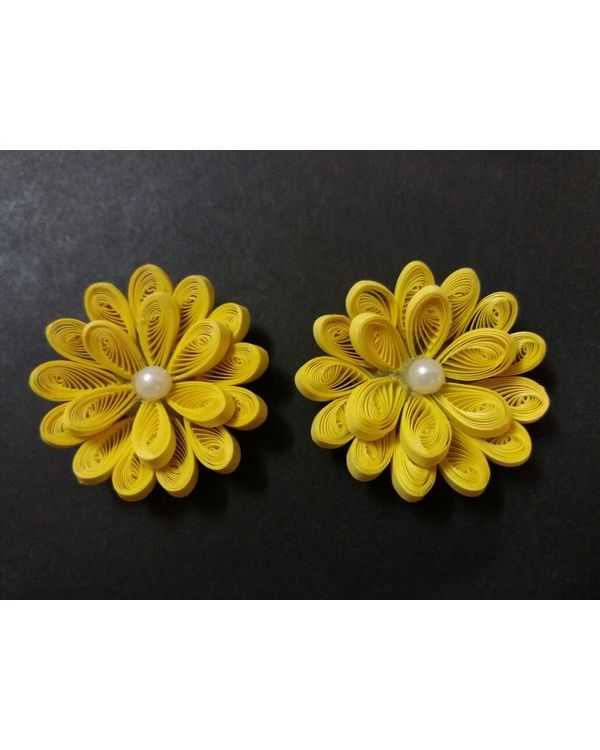 Handmade Quilled Flower - Single Color - Yellow - Large