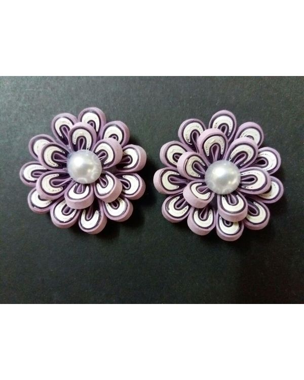 Handmade Quilled Flower - Multi Color - White & Purple - Large