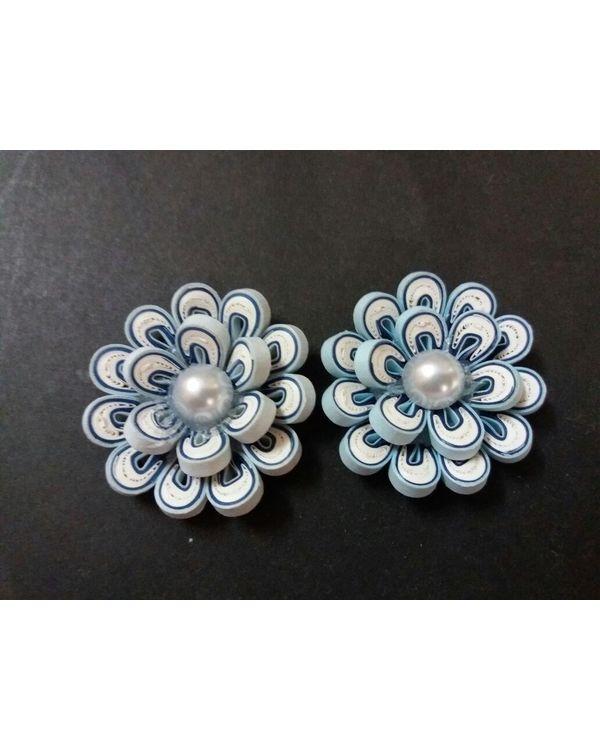 Handmade Quilled Flower - Multi Color - White & Light Blue - Large
