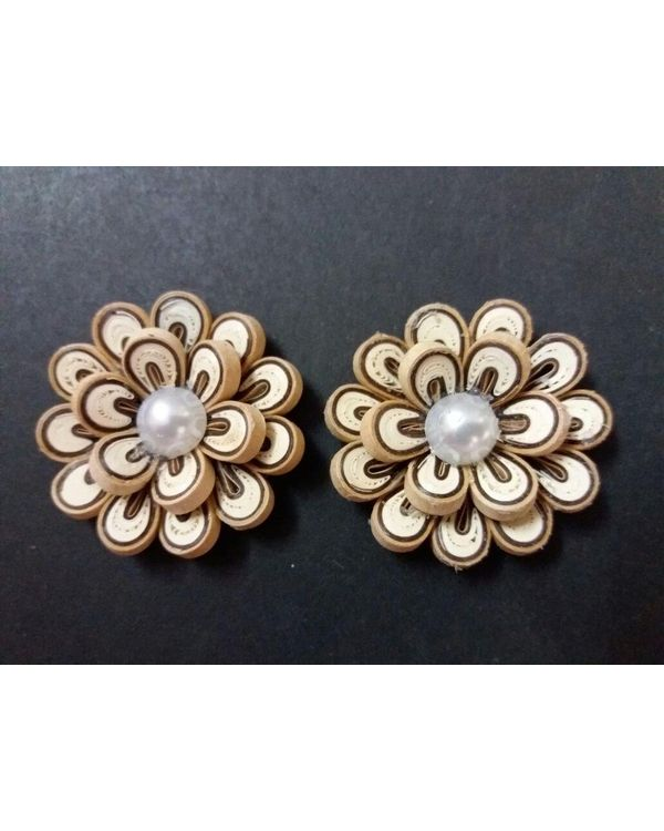 Handmade Quilled Flower - Multi Color - White & Light Brown - Large