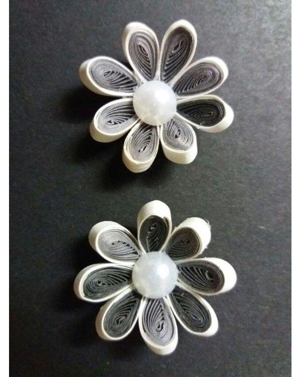 Handmade Quilled Flower - Multi Color - Black & White - Medium