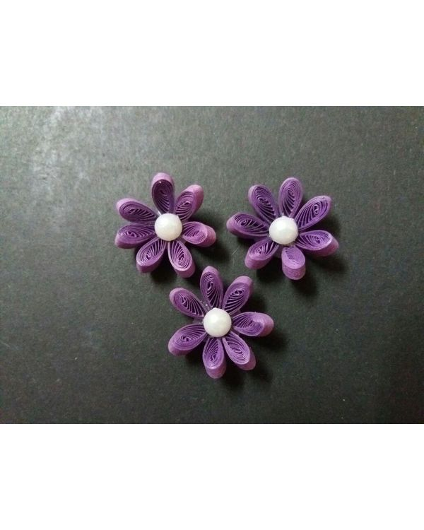 Handmade Quilled Flower - Single Color - Purple - Small