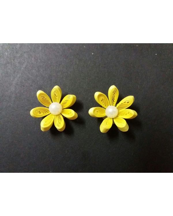 Handmade Quilled Flower - Single Color - Yellow - Small