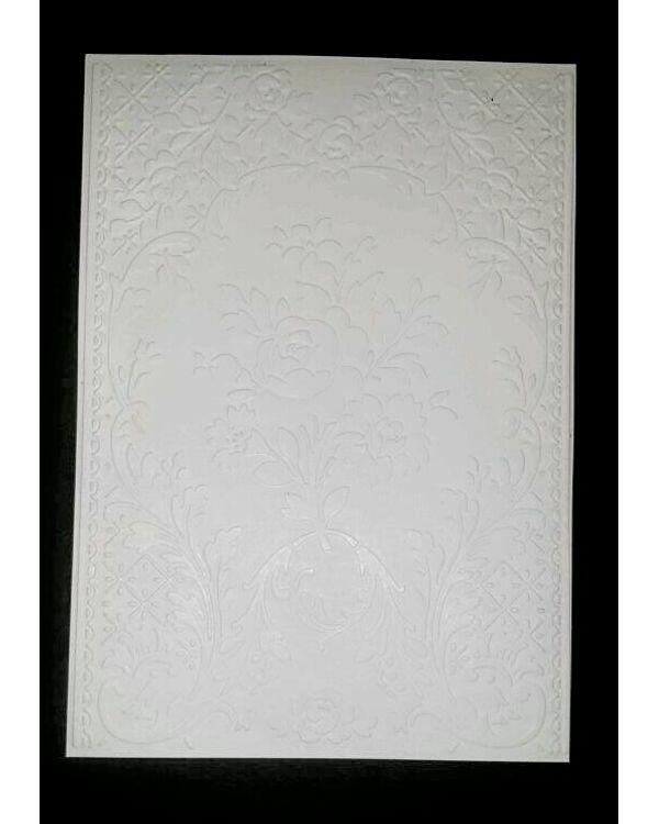 Kraftzone - Premium Embossed Cardstock A5 - White - Pattern #222W (5 pcs)
