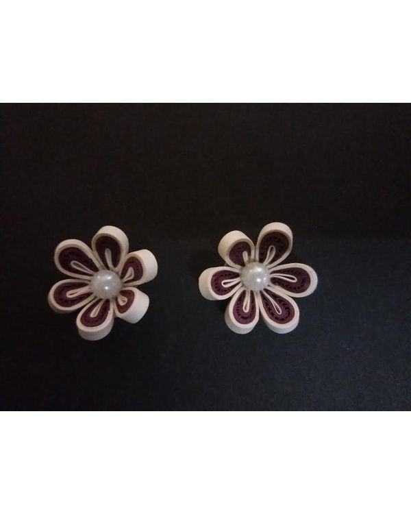 Handmade Quilled Flower - Multi Color - Wine & White - Small