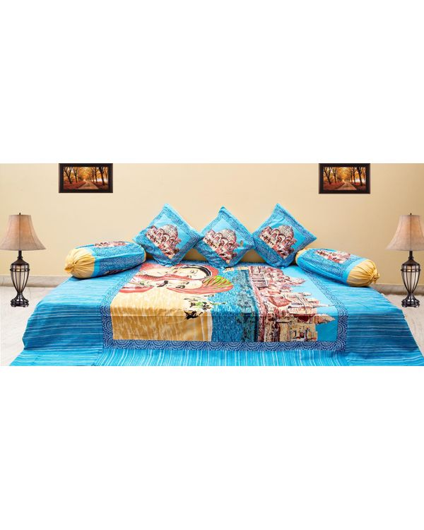Traditional 6 Piece Diwan Set - 100% Cotton