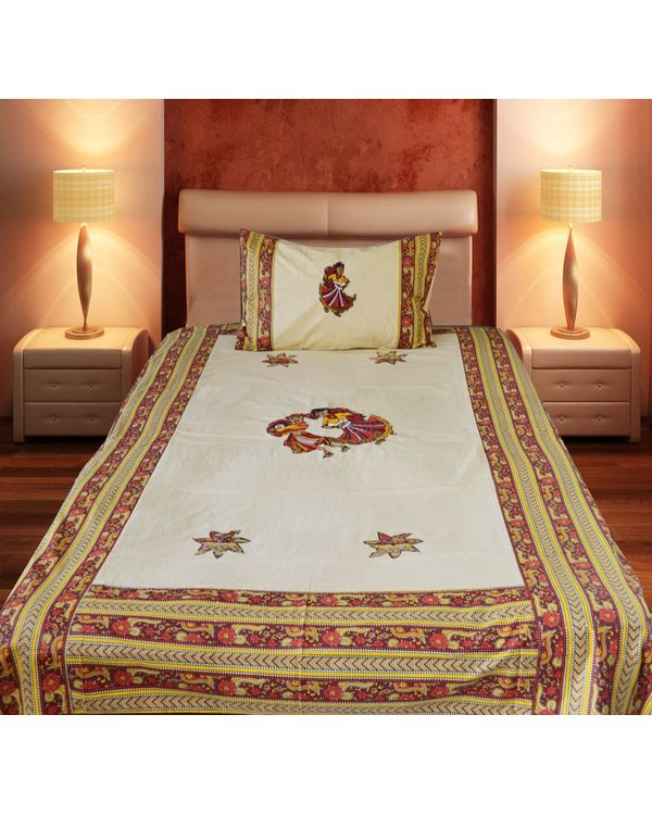 Single bed Hand Embroided Patch Bed-sheet with 1 Pillow Cover