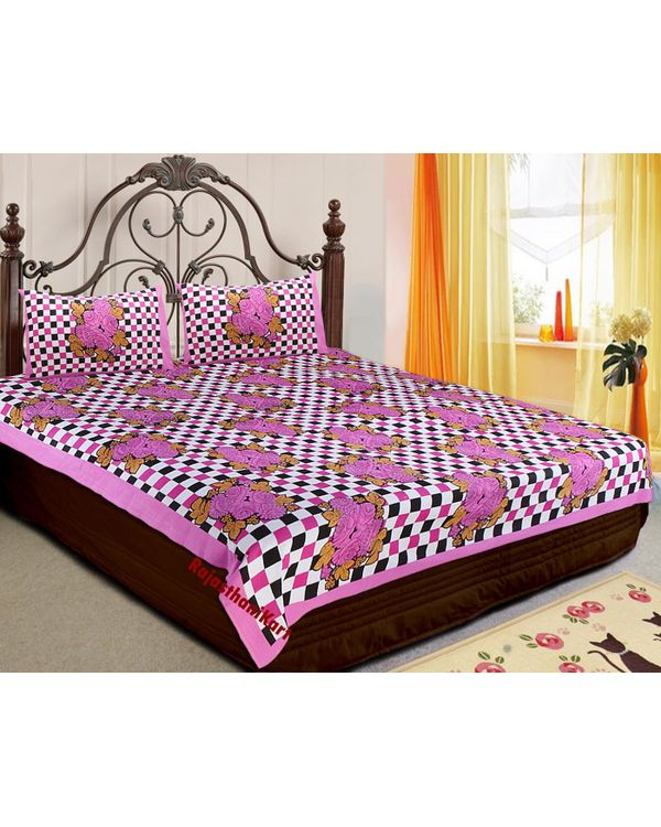 Classic Cotton Double Beds-heet with Two Pillow Covers