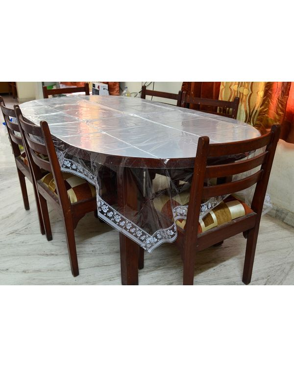 RajasthaniKart Premium plastic Dining table cover with White Border (90 X 60 inches)