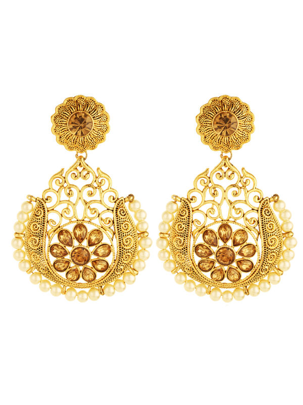 Bling N Beads Bridal Yellow Gold Earrings with topaz and pearl