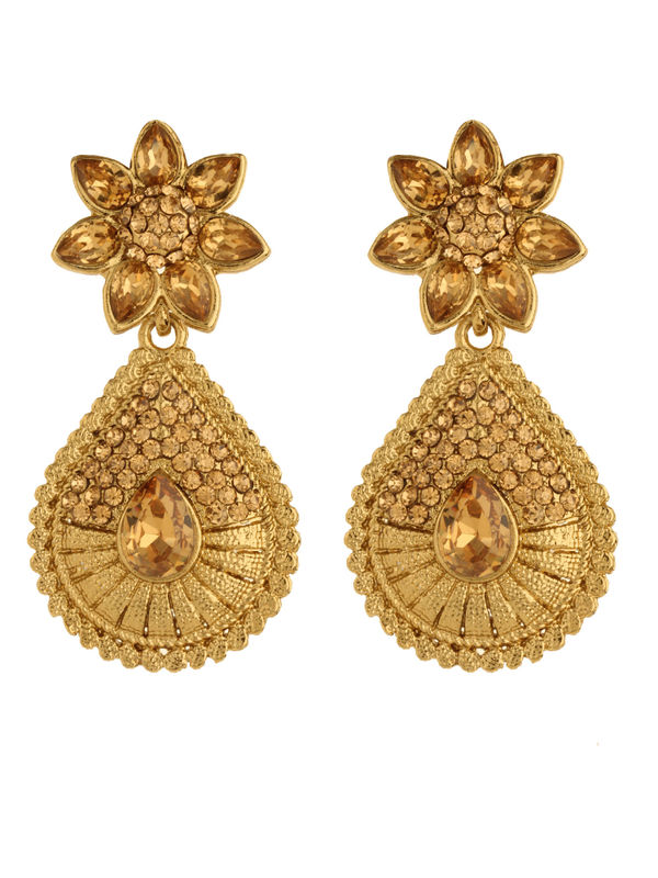 Bling N Beads Bridal Yellow Gold Earrings with topaz