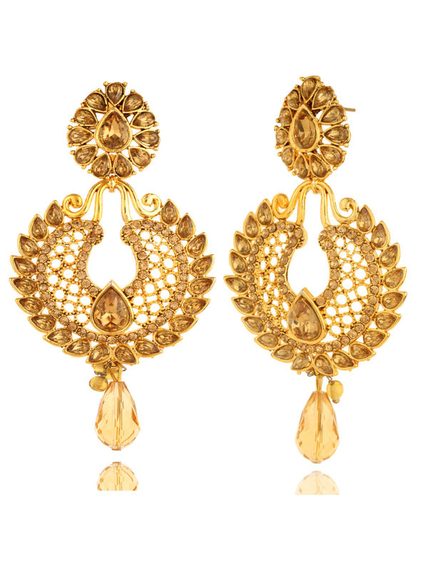 Bling N Beads Bridal Yellow Gold Earrings with topaz crystals