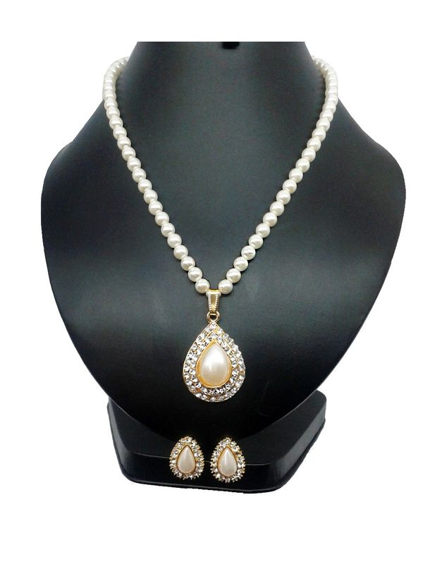 White pearl necklace with pendant set jp101 white pearl necklace with pendant set aloadofball Gallery