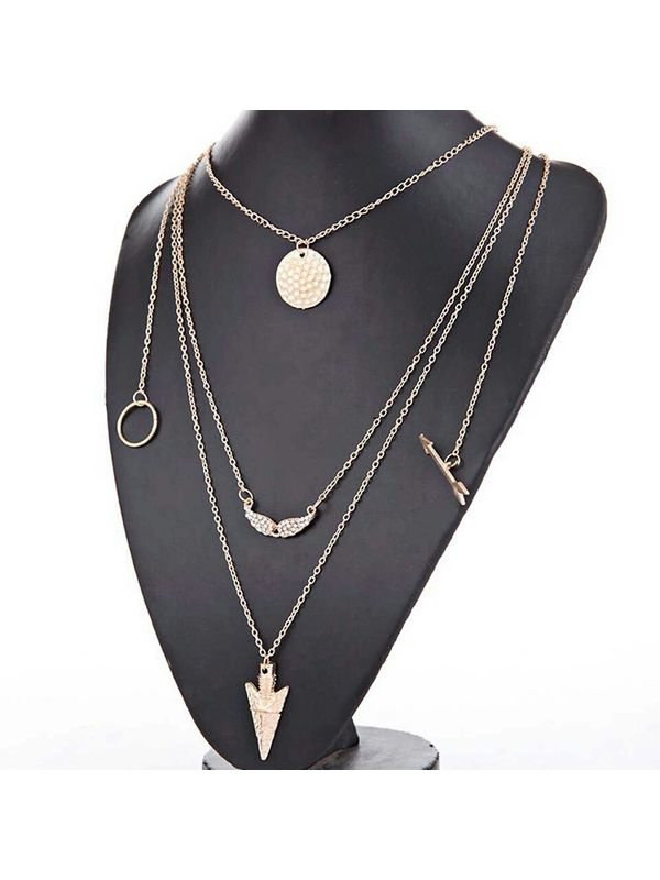 18k gold plated pendant multichain necklace aloadofball