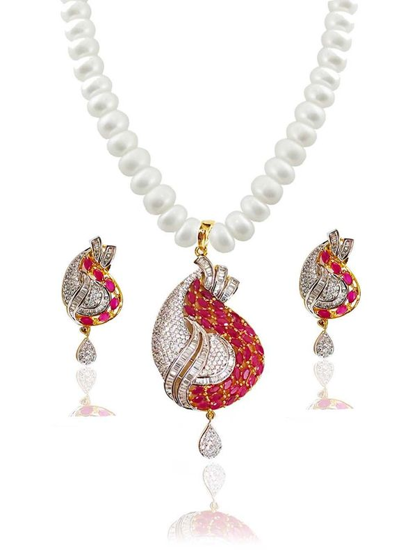 Real pearl necklace with american diamond pendant set rp1004 real pearl necklace with american diamond pendant set aloadofball Gallery