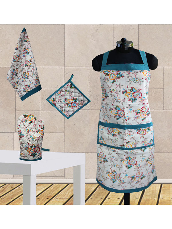 elegant Floral Printed Apron-Set of 4 Pcs by Dekor World