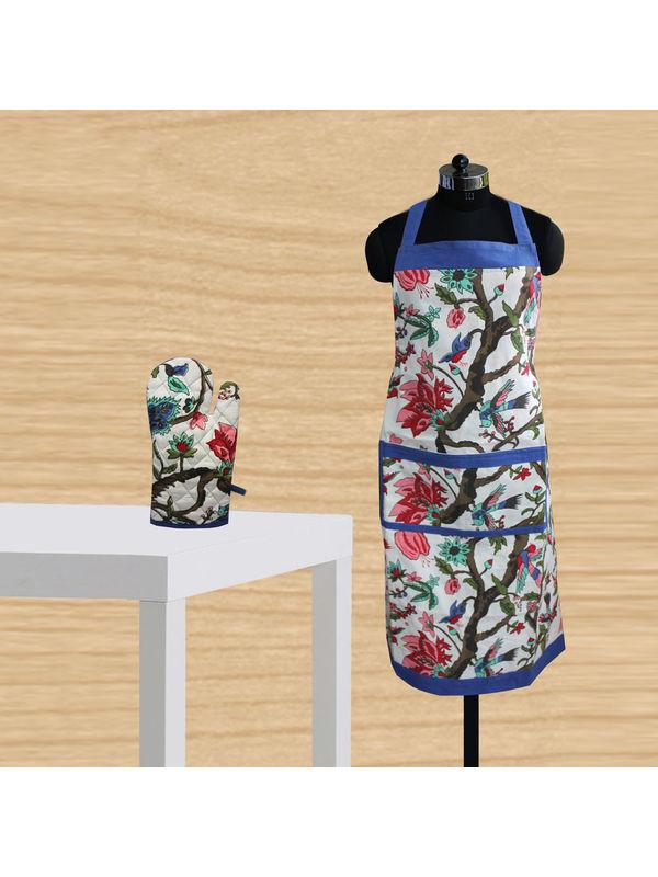 Floral Bird Printed Apron Glove Set by Dekor World