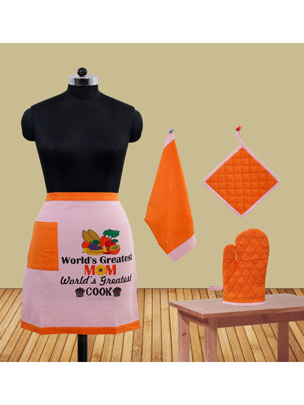 World's Greatest Mom Bistro Apron Set (Pack of 4) by Fun Club