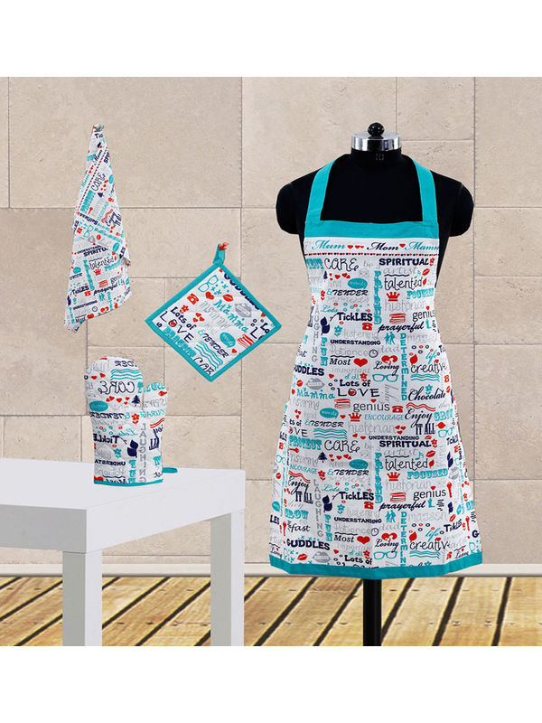 Mom Love Printed Apron Set (Pack of 4 Pc) by Dekor World