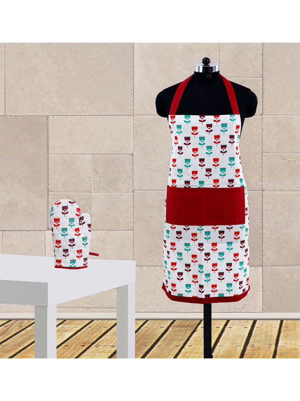 Floral Printed Apron Set (Pack of 2 Pc) by Dekor World