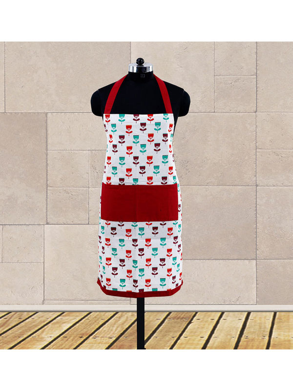 Floral Printed Apron (Pack of 1 Pc) by Dekor World