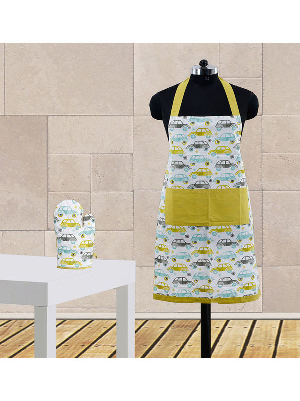 Car Fun Printed Apron Set (Pack of 2 Pc) by Dekor World