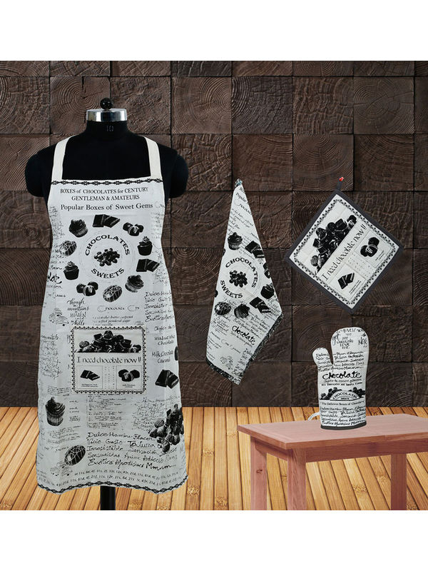 Chocalate Collection Apron Set(Pack of 4) by Dekor World