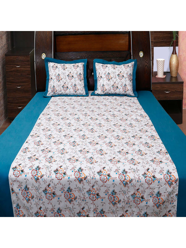 Floral Bonanza Printed Bedsheet Set W/2 Pillow Covers-Pack of 3 Pcs by Dekor World