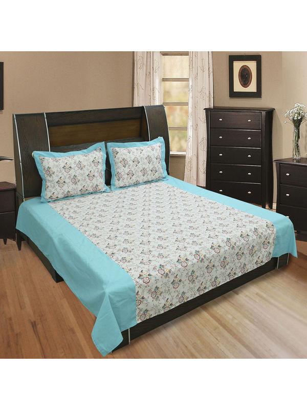 Cotton Floral Printed Bedsheet Set-Pack of 3 Pcs by Dekor World