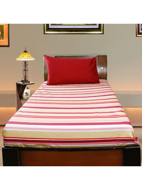 Stripe Cotton Printed Single Bedsheet W/ Pillow Cover-Pack of 3 Pcs  by Dekor World (MORE COLOR)