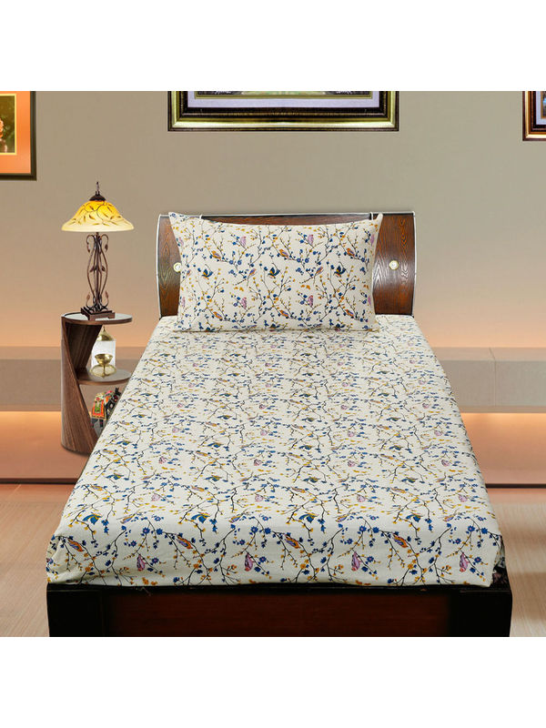 Cotton Bird Printed Single Bedsheet Set W/Pillow Cover-Pack of 3 Pcs  by Dekor World (MORE COLOR)