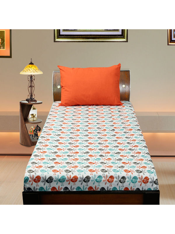 Cotton Bird Printed Single Bedsheet Set W/Pillow Cover-Pack of 3 Pcs by Dekor World
