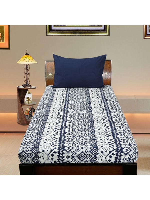 Cotton Ikat Blue Printed Single Bedsheet Set W/Pillow Cover-Pack of 3 Pcs by Dekor World