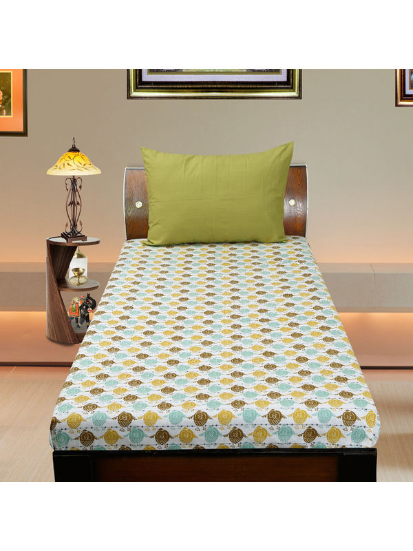 Cotton Owl Printed Single Bedsheet Set W/Pillow Cover-Pack of 3 Pcs by Dekor World