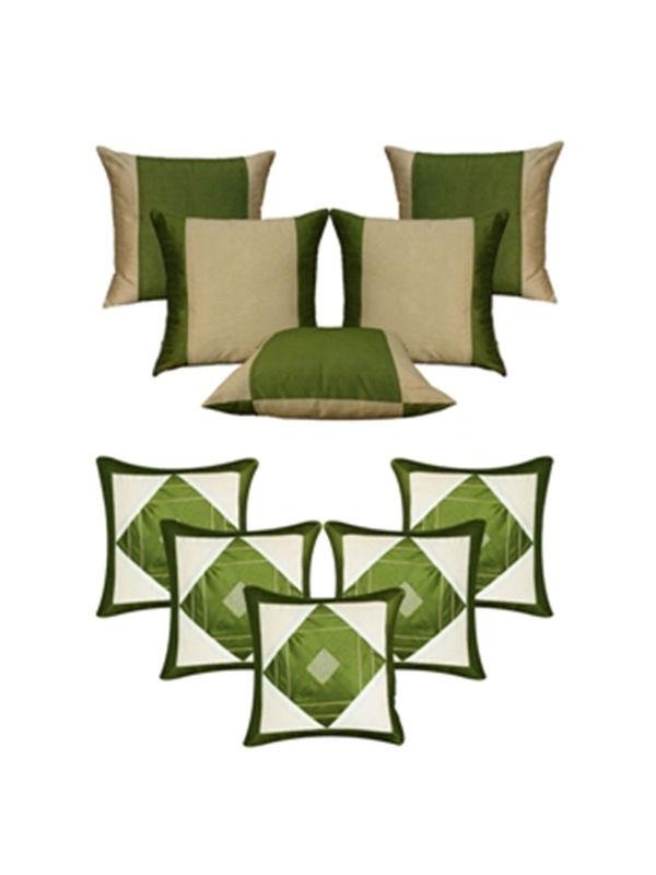 Dekor World Ultima Green Combo. Cushion Cover(Pack of 10 Pcs)