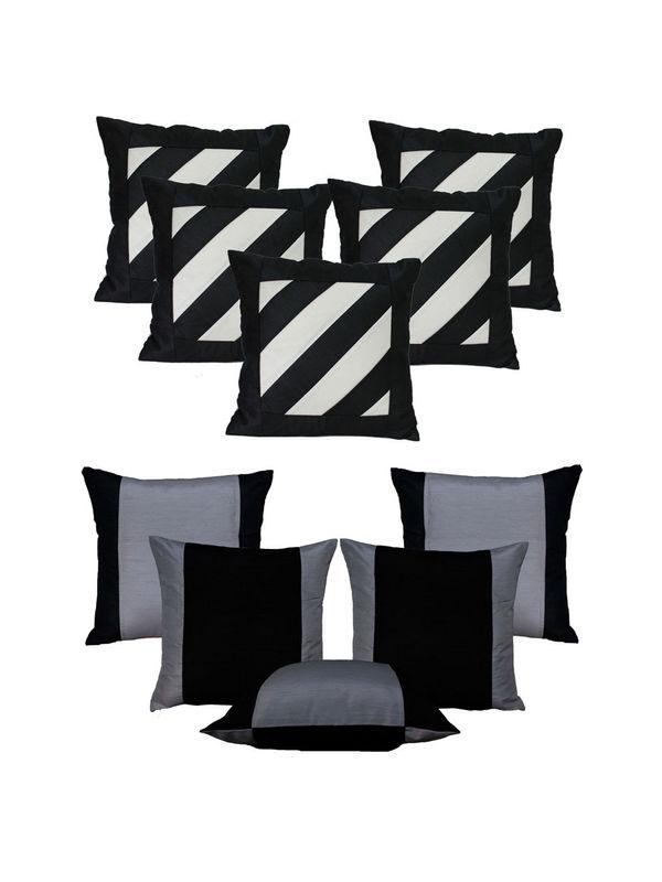 Dekor World Double Side Cushion Cover-Set of 10 Pcs