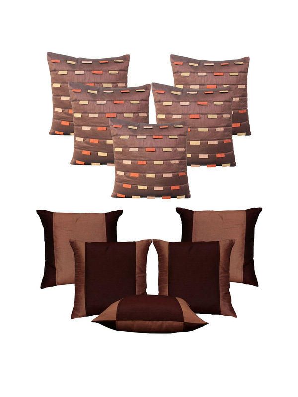 Dekor World Brown Loopy Cushion Cover Combo.(Pack of 10 Pcs)
