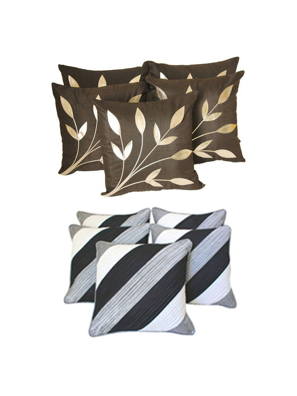 Dekor World Ultima Black  Combo. Cushion Cover(Pack of 10 Pcs)