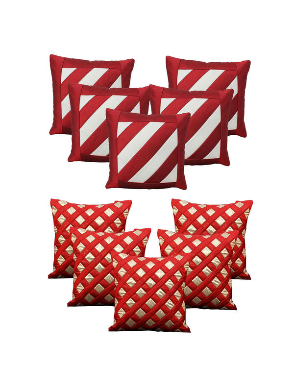 Dekor World Ultima Maroon Combo. Cushion Cover(Pack of 10 Pcs)
