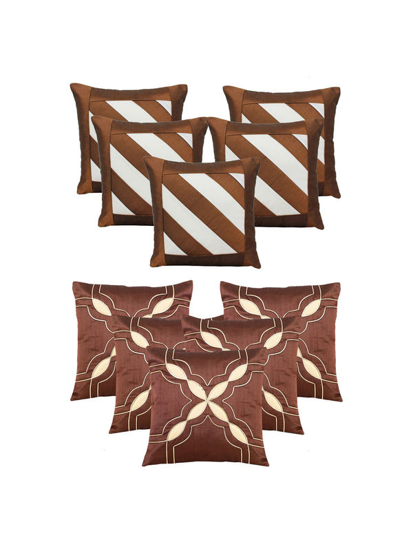 Dekor World Brown Emboridery Combo. Cushion Cover