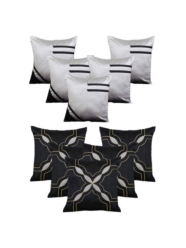 Dekor World Black Emboridery Combo. Cushion Cover