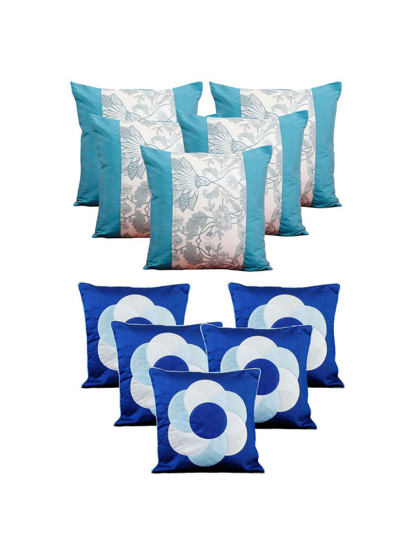 Dekor World Blue Emboridery Combo. Cushion Cover