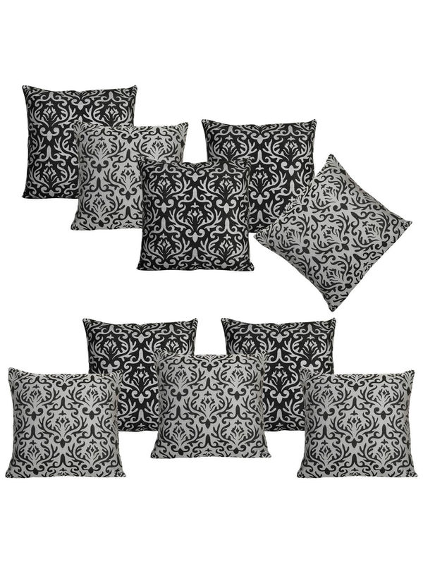 Dekor World Golden Printed Combo. Cushion Cover (Pack of 10)