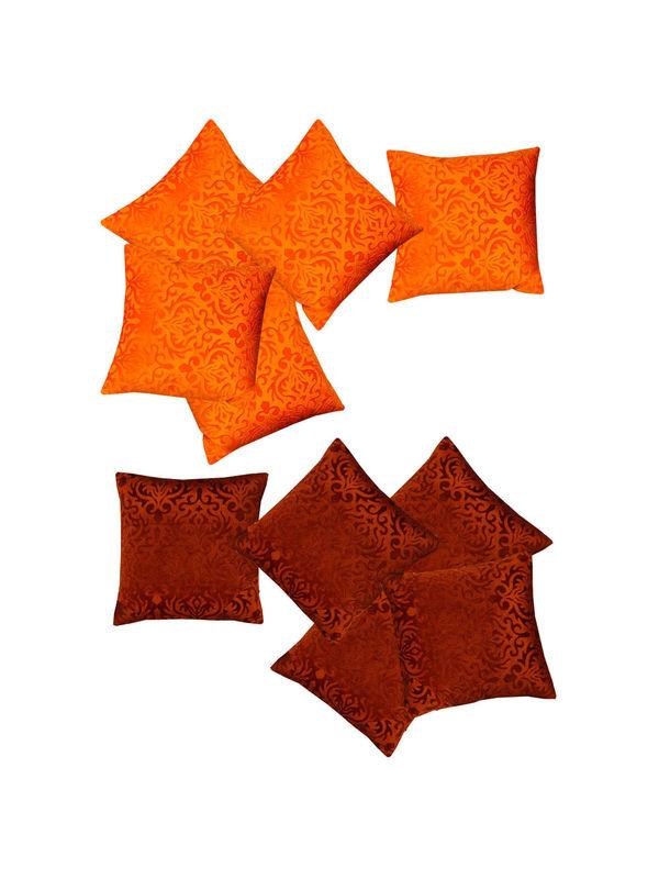 Orange Brown Velvet Touch Combo. Cushion Cover (Pack of 10) By Dekor World